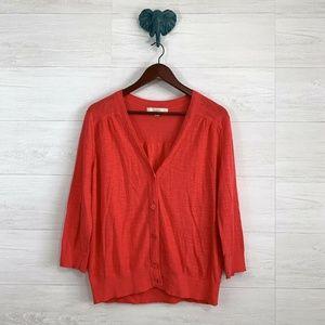LOFT Vibrant Orangey Red Slub Knit Cardigan